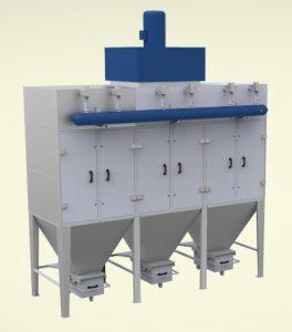 Прахоуловител за 14000m3/h дебит, патронен тип, модулна сглобяема конструкция от поцинкована ламарина 2мм и 3мм с импулсно почистване на филтрите.