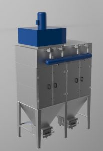 Прахоуловител за 10000m3/h дебит, патронен тип, модулна сглобяема конструкция от поцинкована ламарина 2мм и 3мм с импулсно почистване на филтрите.