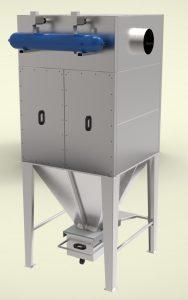 Прахоуловител за 3200m3/h дебит, патронен тип, модулна сглобяема конструкция от поцинкована ламарина 2мм и 3мм с импулсно почистване на филтрите.