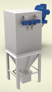 Прахоуловител за 1600m3/h дебит, патронен тип, модулна сглобяема конструкция от поцинкована ламарина 2мм и 3мм с импулсно почистване на филтрите.