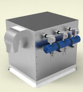 Прахоуловител за 1500m3/h дебит, касетъчен тип, модулна сглобяема конструкция от неръждаема стомана с дебелина 2мм и 3мм с импулсно почистване на касетите.